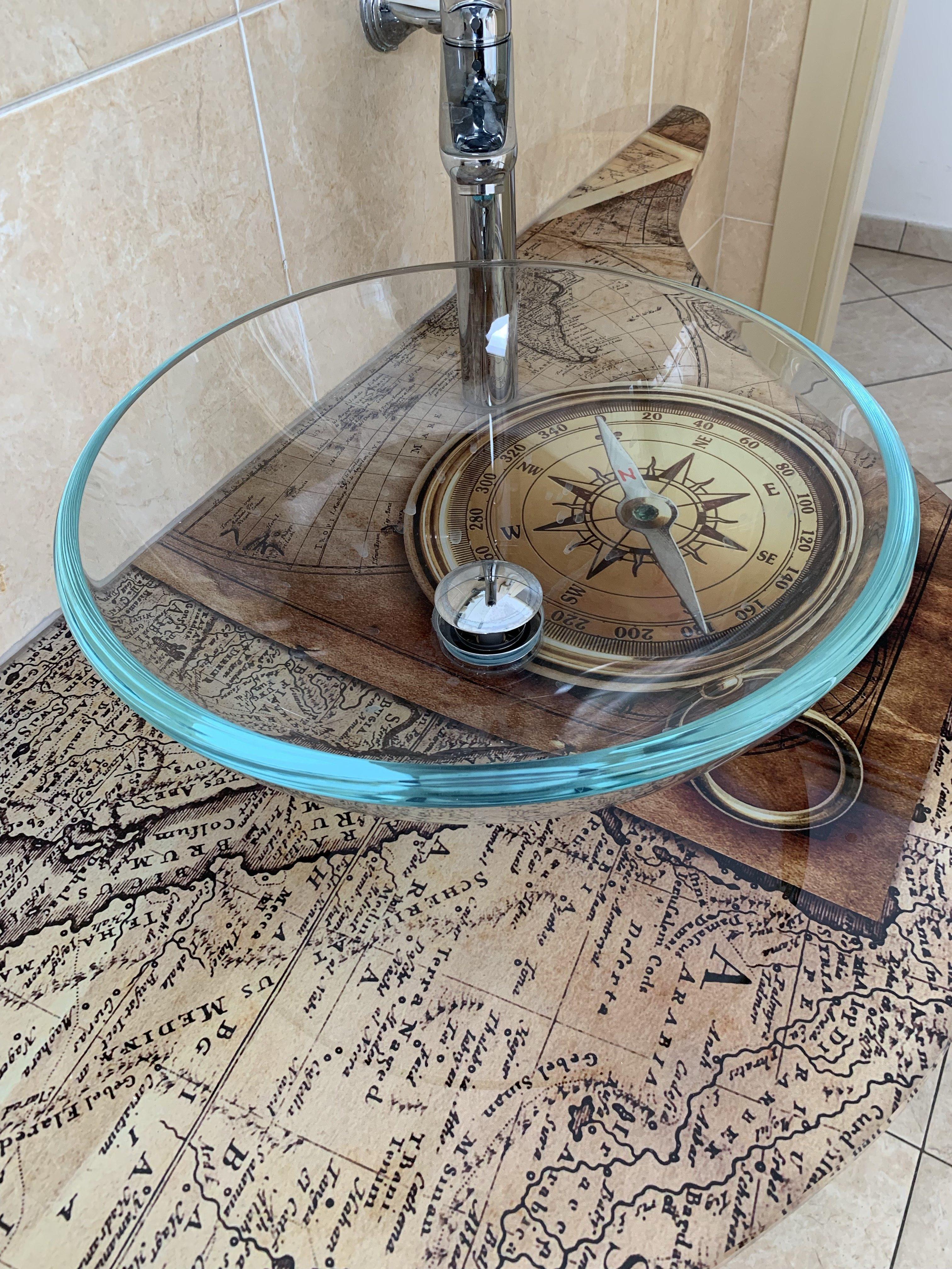 Residence Riccione Veliero lavabo mappa antica